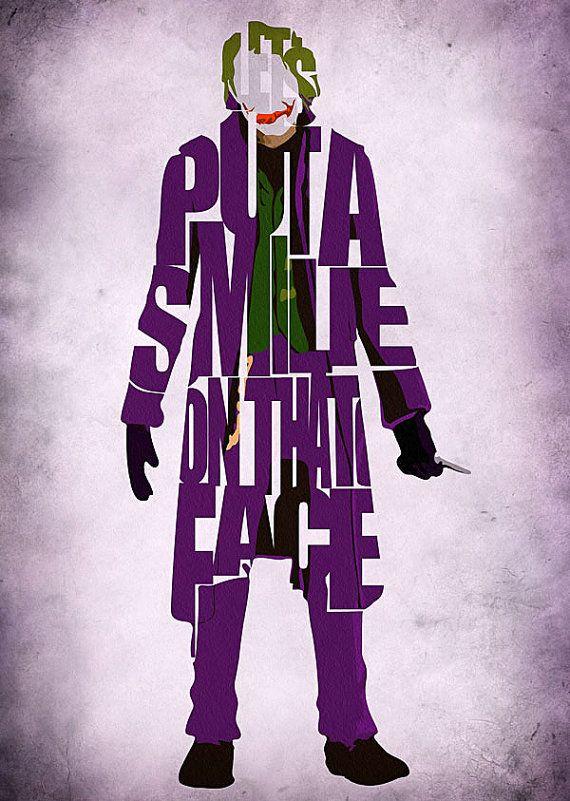 Joker Inspired Poster - Minimalist The Dark Knight Typography Poster ... Joker Comic Poster