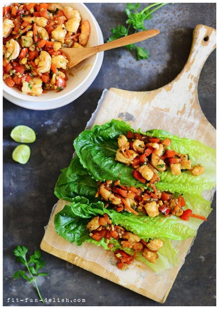 Shrimp Lettuce Wraps by fit-fun-delish: Quick and healthy! #Shrimp_Wraps #Healthy