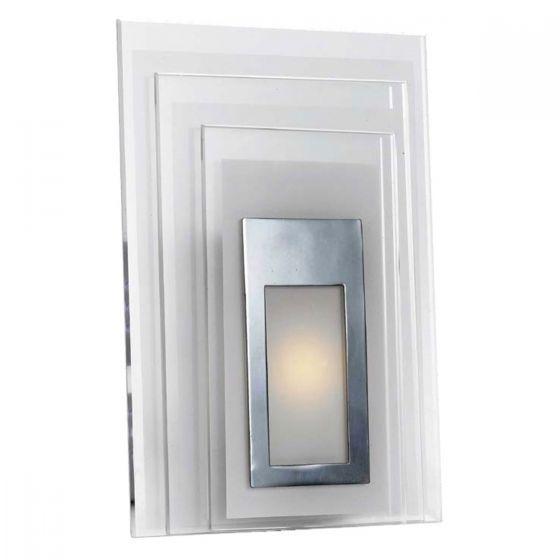 Telbix Elsa Chrome & Opal Glass Square LED Wall Light