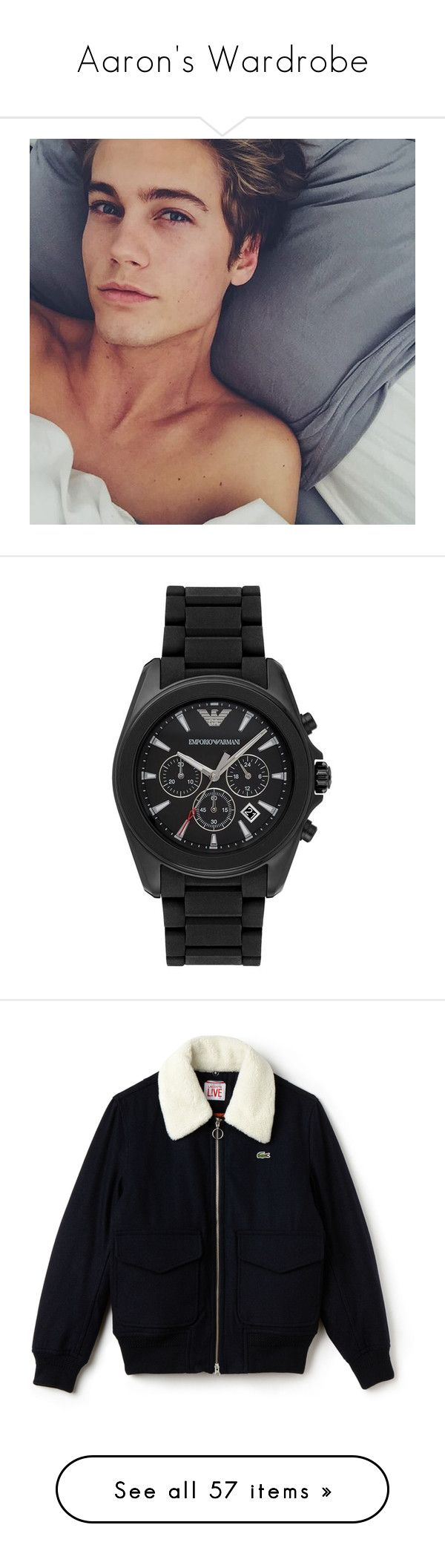 """""""Aaron's Wardrobe"""" by xofrnkiero ❤ liked on Polyvore featuring neels visser, men's fashion, men's jewelry, men's watches, mens chronograph watches, men's blue dial watches, emporio armani mens watches, mens rubber watches, men's clothing and men's outerwear"""