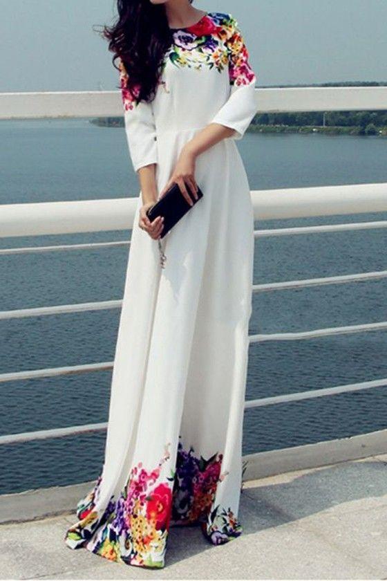 White Mosaic Flowers Print Zipper 3/4 Sleeve Maxi Dress