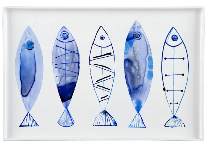 Margaret Berg : fish / nautical: Retro Watercolor Fish Serveware