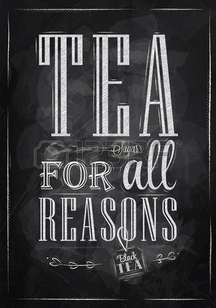 Плакат Чай Для всех причин в стиле ретро стилизованный рисунок мелом на доске