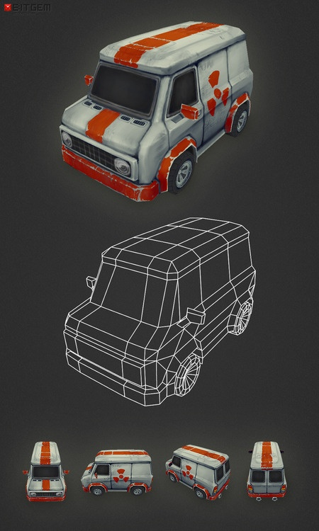 Low Poly Van My second car model is done! This one is some sort of Death Ralley ice cream van. :)