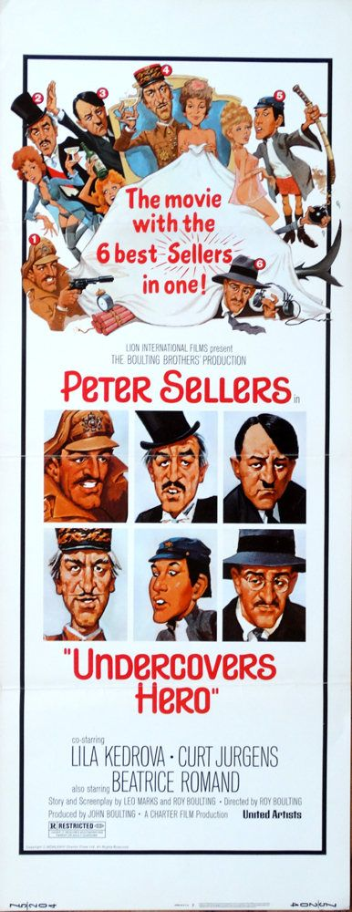 "Undercovers Hero. 1975 Original 14""x36"" US Insert Theater Movie Poster. FREE SHIPPING. Peter Sellers,Lila Kedrova,Curt Jergens,Jenny Hanley. by ArtisticSoulStudio on Etsy"