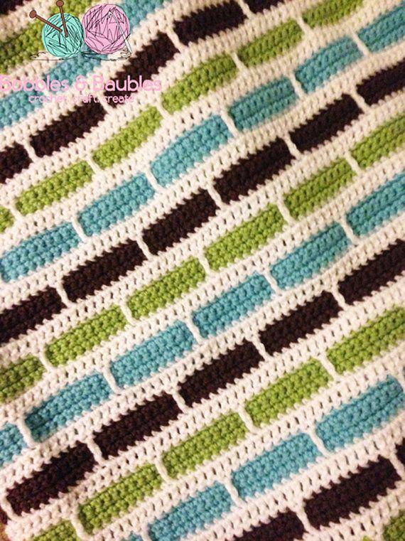 striped crochet blanket | Bernat's Crochet Stripes Blanket by Bobbles & Baubles