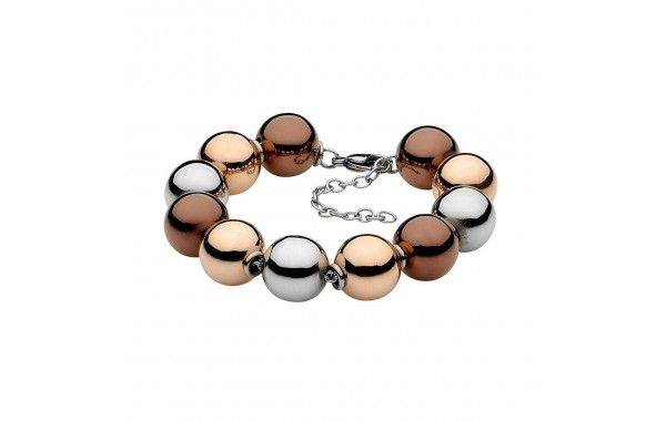 Pastiche 15mm ball tri-colour ball bracelet in high polish Steel, and Rose Gold and Brown Ion Plating