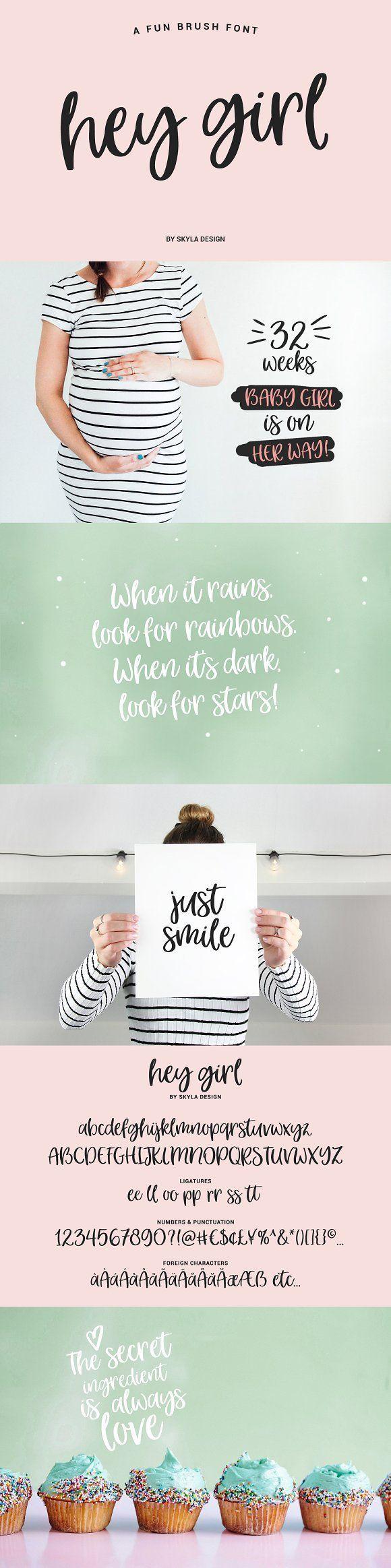 A fun, smooth brush font, Hey Girl by Skyla Design on @creativemarket