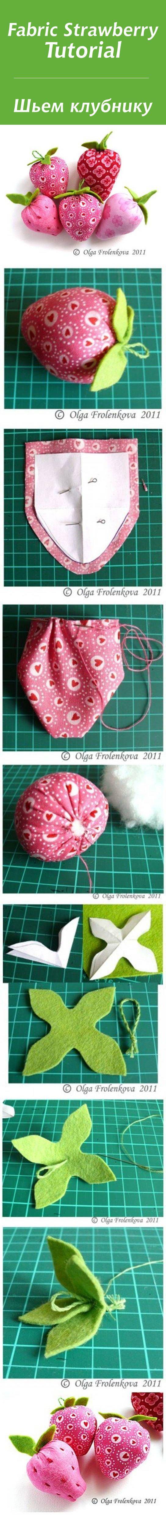 Шьем клубничку из ткани / Fabric Strawberry Tutorial #diy