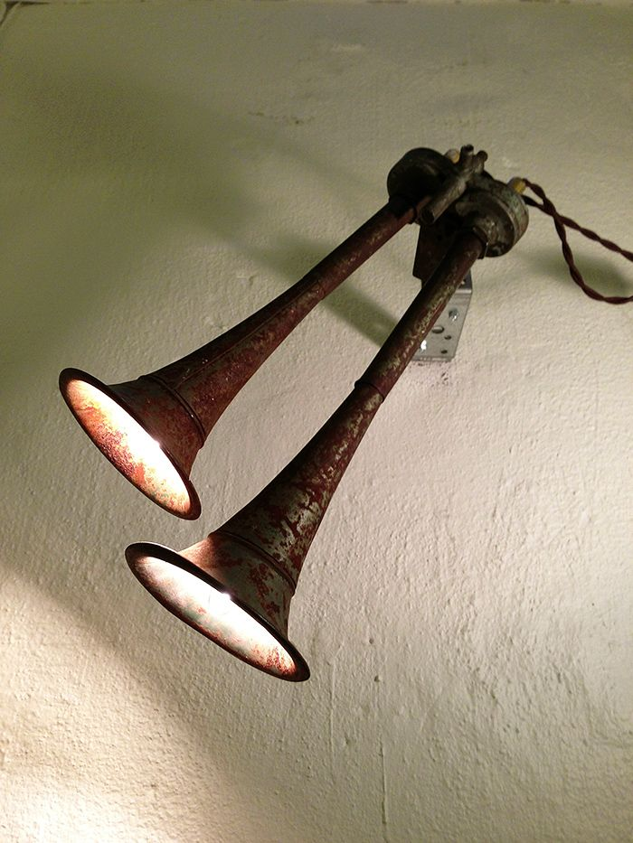 """""""Honky Tonk"""". Lamp made from vintage American car horn. More industrial lamps and vintage home decor at www.rustyremakes.com."""