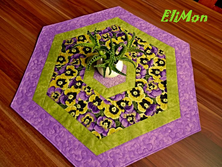 Spring, table -runner, flower, purple, green, patchwork, quilt, hexagon