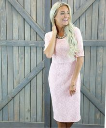 The popular June dress is back, in pink! A perfect shade for bridesmaids, and with a modest design this dress is great with it's high neckline (front and back), a great length down to the knees and half sleeves which flatter everyone! Shipping worldwide from Perth Australia.