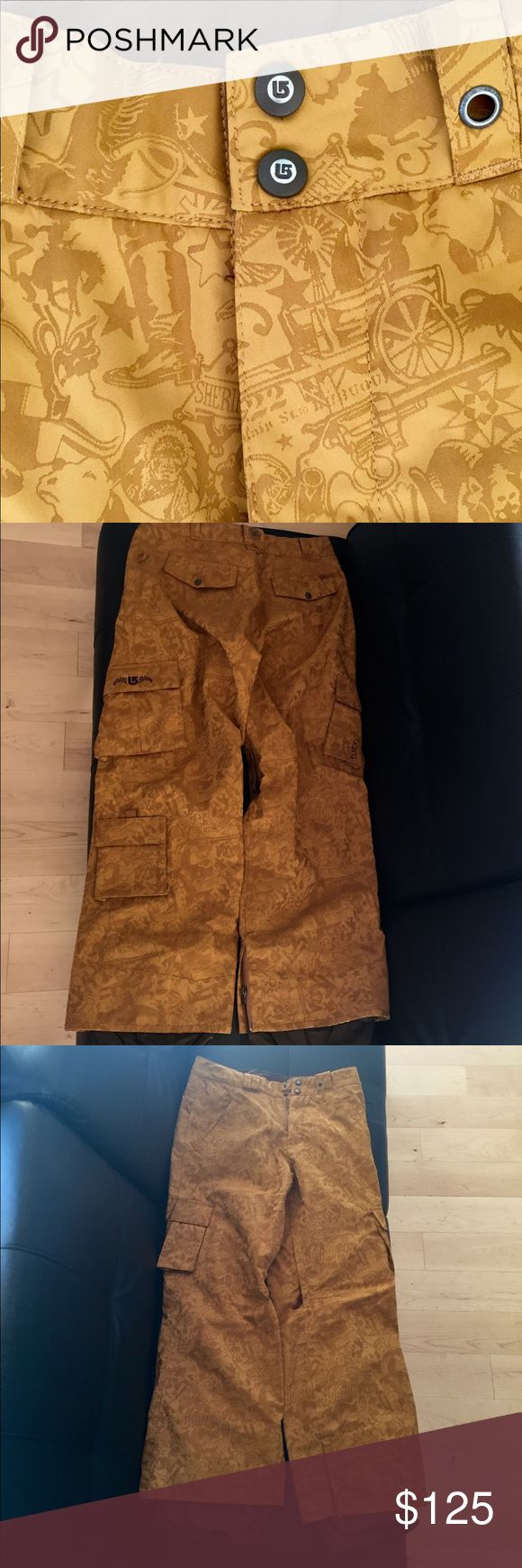❄️BURTON Snowboard Pants BURTON Western themed snowboard/ski pants. Wore them once for a half day, just a little too big. SUCH GREAT HIGH-QUALITY PANTS: waterproof, thick, warm, vents inside thighs, multiple pockets, some with zippers. Sick color! Would order in my size but sold out. I cut out the metal hook in the gaiters like I do in all my pants, see the last photo. Make an offer! :) Burton Pants
