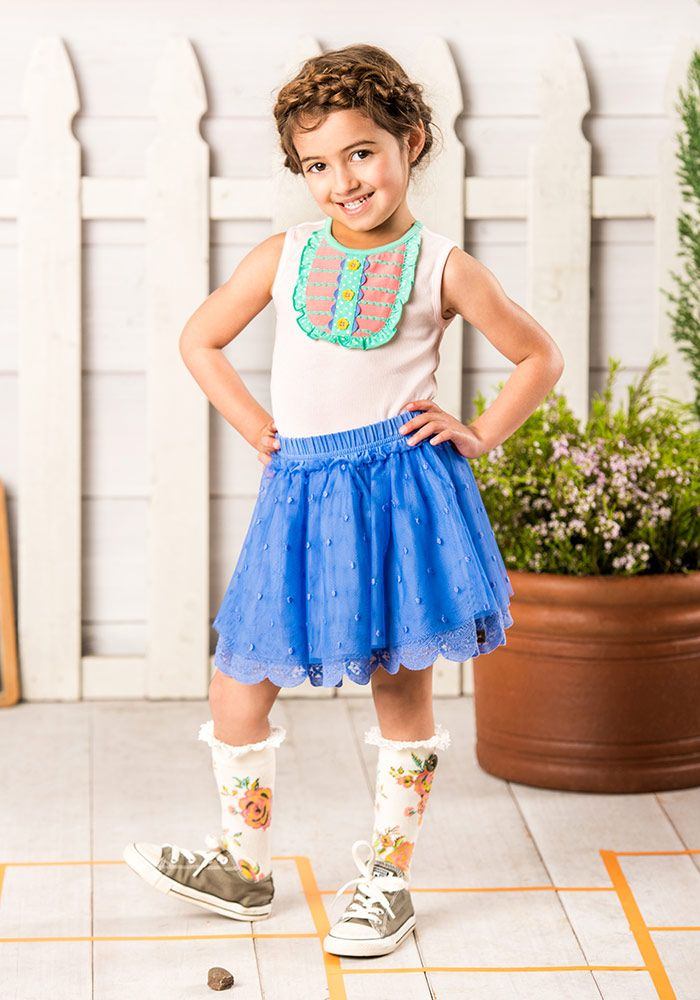 Cat's Cradle Tank, mother may I skirt - Matilda Jane Clothing (front porch cookie top is cute with the skirt, too!)