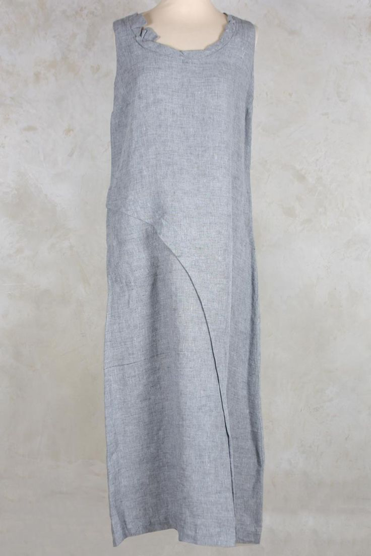 Linen Dress with Drawstring Back in Grey - Crea Concept