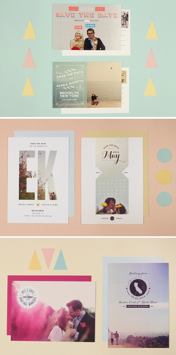 New Photo & Postcard Save the Dates from (Love vs. Design + Max Wanger Collab)