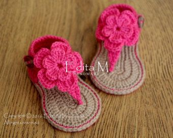 Crochet baby sandals gladiator sandals baby by EditaMHANDMADE