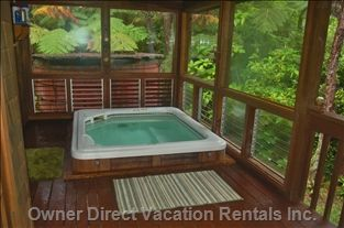 Hot tub on lanai off master bedroom with awesome rain forest views #BigIsland #Hawaii