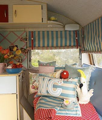 inside retro camper ~ there's that photo board again! Must do! Maybe attach to front of the fridge with command pic hangers
