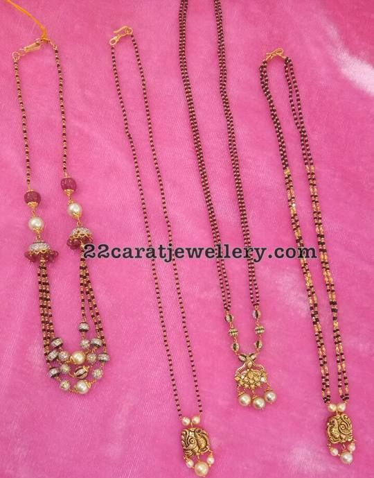 Black Beads Set with Simple Lockets - Jewellery Designs