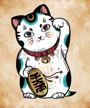 maneki neko: Lucky cat - Maneki Neko. Traditional Asian money and business fortune symbol, welcoming, happiness and best wishes cat. Vector hand drawn illustration.