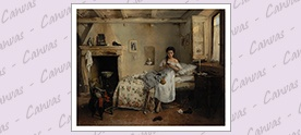 """Acquista l'opera d'arte   Gerolamo Induno, Triste presentimento,              Stampasu tela pittorica             (61 x76 cm, 24"""" x 29"""") in alta definizione    - www.haltadefinizione.com"""