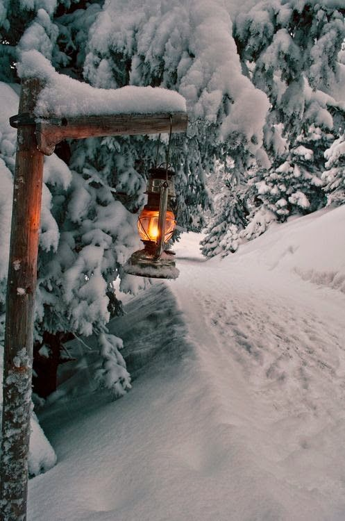 Snowy path in the Alps