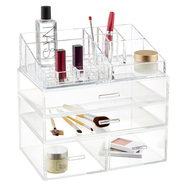 Our hand-fabricated Luxe Acrylic Modular Tray and Drawers stack securely for vertical storage.
