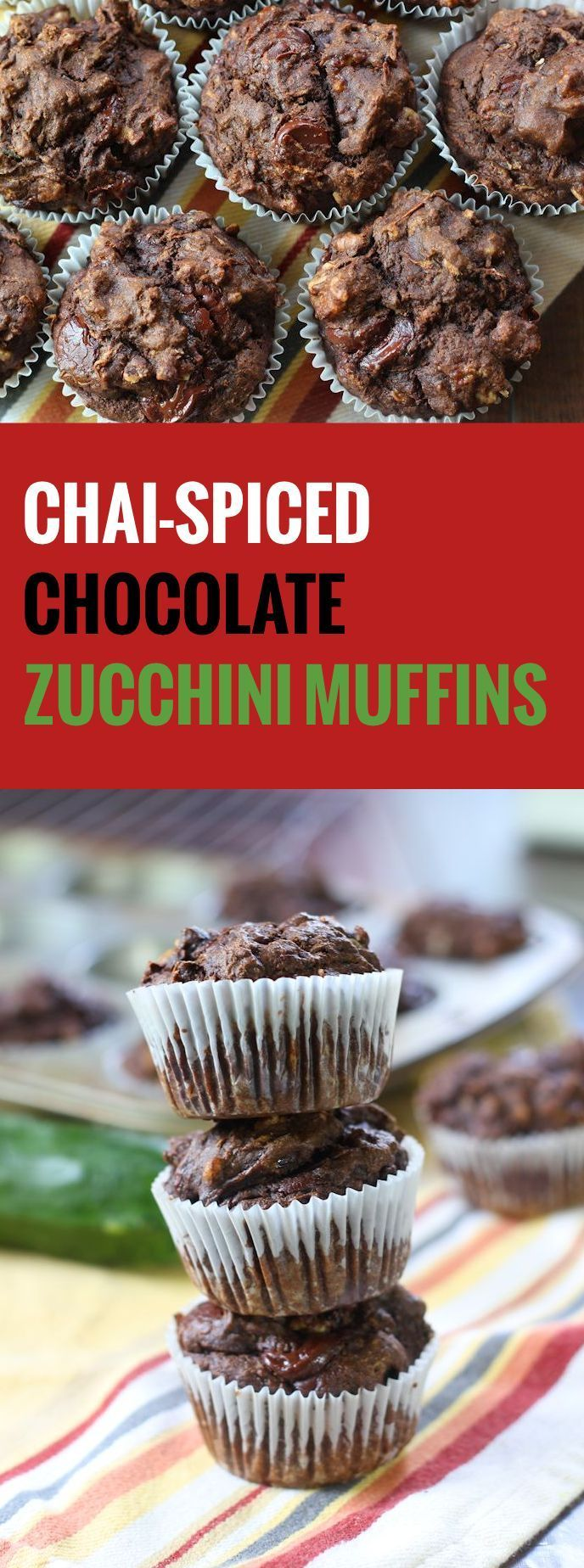 These moist chocolate zucchini muffins are bursting with rich chocolate chips, crunchy walnuts and the flavors of a cup of chai-spiced tea.