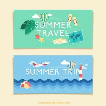 Banners de viaje en verano