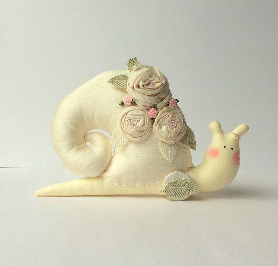 Shabby chic toy stuffed Snail. Ivory pure by CherryGardenDolls