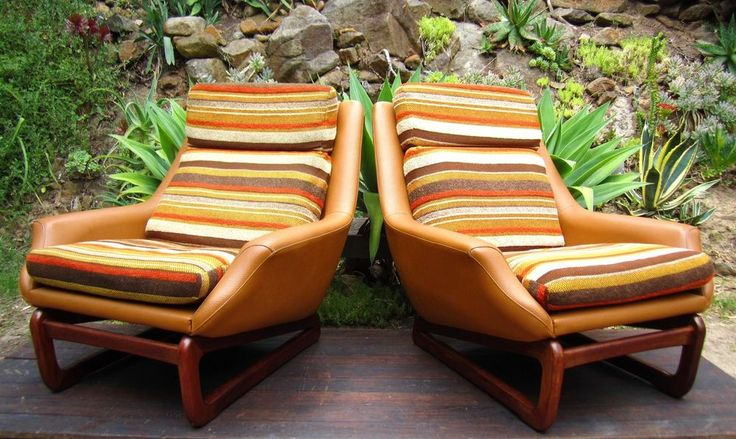 Danish Deluxe Teak Vinyl Tub Lounge Chairs Vintage 60s Bucket  MCM Retro Atomic