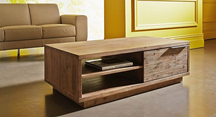 Soli coffee table in solid Acacia with a light grey-wash finish
