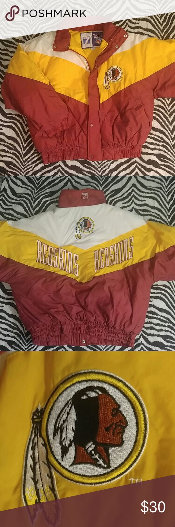 """Vintage Washington Redskins puffy jacket XL Super rare and stylish vintage Redskins coat made by Logo 7. This is authentic NFL gear from way back but still in excellent condition. This jacket is quilted on the inside to keep you warm all winter! Length (minus collar) 27"""", Width 26"""" Jackets & Coats"""