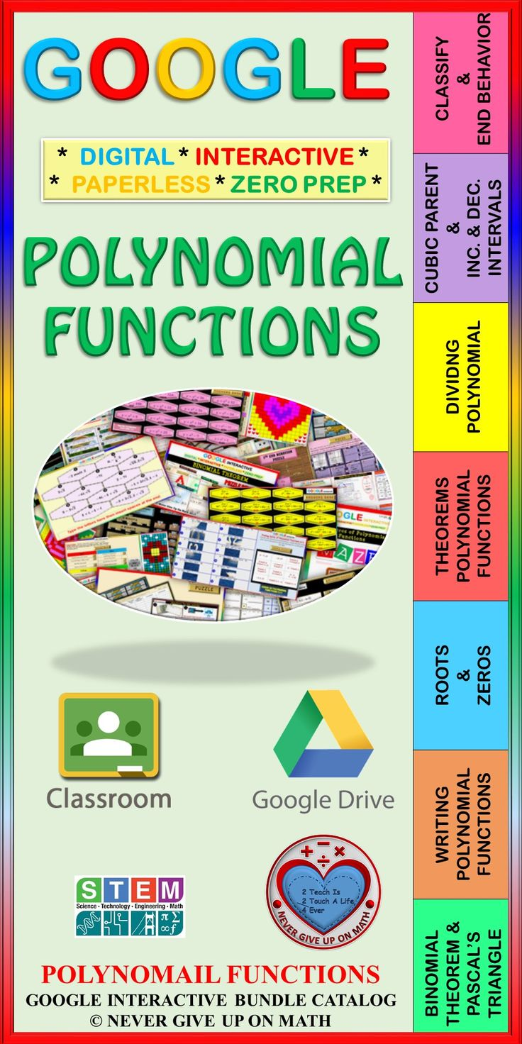 This bundle provides different choices for each of the objectives taught in this chapter of Polynomial Functions which allows for differentiation. ? Classification of Polynomials & End Behavior ? Transformation of Cubic Parent Function & Intervals of Increase & Decrease ? Dividing Polynomial Functions (Long Division & Synthetic Division) ? Theorems of Polynomial Functions ? Roots & Zeros of Polynomial Functions (by Graphing Calculator, Factoring, Quadratic Formula, & More) ? Writing Poly…