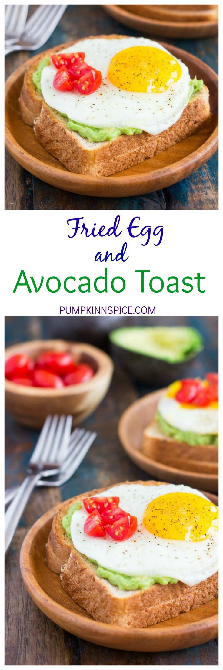 ... bread is toasted and then topped with mashed avocado, a fried egg, and