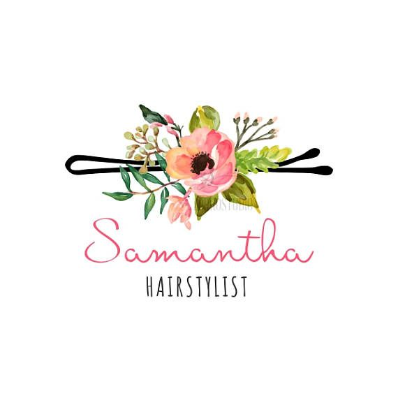 Premade Logo Hairstylist Woman Floral Logo Peonies Makeup Hair