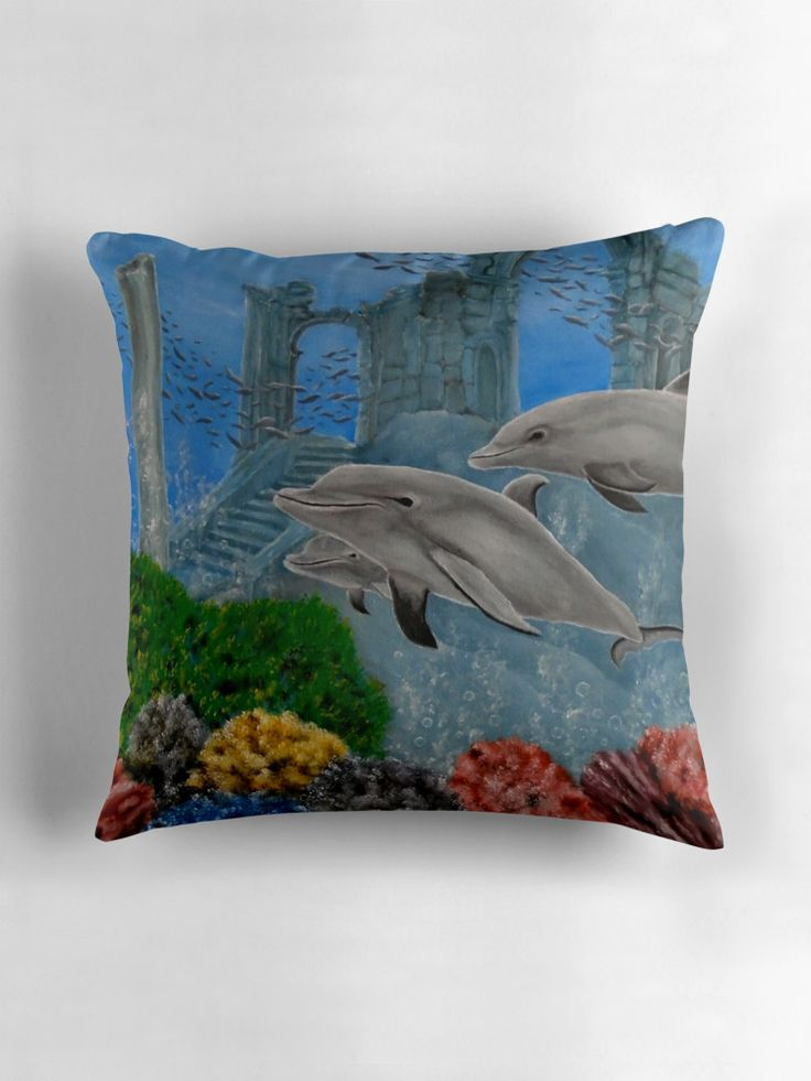 Throw Pillow,  home,accessories,sofa,couch,fantasy,decor,cool,beautiful,fancy,unique,trendy,artistic,awesome,fahionable,unusual,gifts,presents,for sale,design,ideas,items,products,aqua,blue,grey,dolphins,wildlife,ocean,redbubble