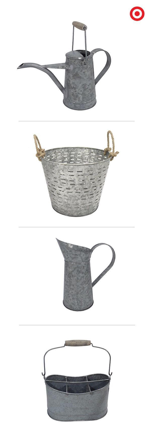Add the vintage look of galvanized metal to your backyard and garden. Threshold offers two styles of watering cans, a two-handle basket and a convenient garden tote. All have a powder-coated finish, and are are both weather resistant and rust resistant. Choose your favorites and make them part of your outdoor collection.