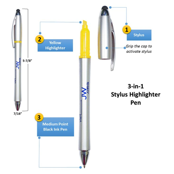 "This 3-in-1 Stylus Highlighter Pen has you covered.   •  Grip the pen by the cap to activate the stylus tip for use on your touchscreen device   •  Twist the pen to write in medium-point black ink   •  Uncap the stylus tip cap to highlight in yellow   •  The ""visit JW.org"" text stands out on the silver barrel for great publicity   •  A useful companion everywhere and a handy gift for all   •  Dimensions 5-7/8""x7/16"""