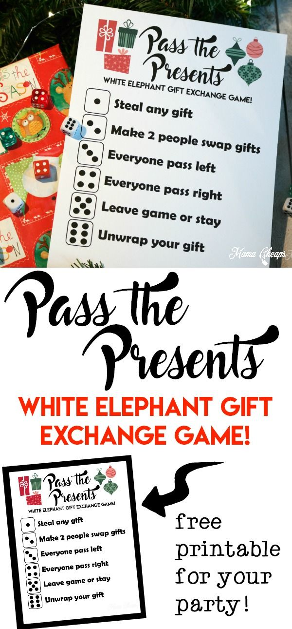 Pass The Presents White Elephant Gift Exchange Game Free Printable Mama Cheaps Christmas Gift Games Christmas Gift Exchange Christmas Gift Exchange Games