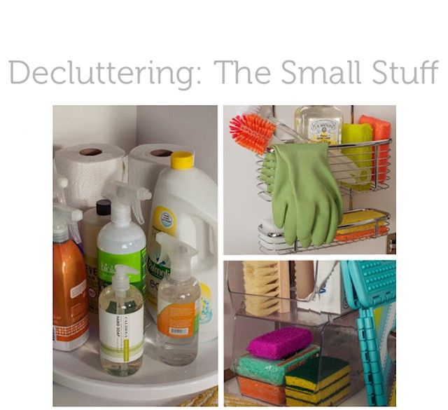 DECLUTTERING THE SMALL STUFFLazy Susan, Organic Ideas, Kitchens Cleaning, Small Stuff, Cleaning Supplies, Organic Kitchens, Under The Sinks Storage,  Icebox, Kitchens Sinks