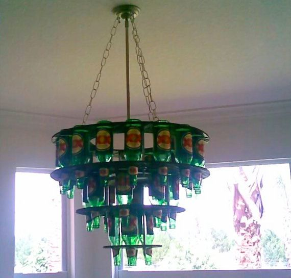 Handcrafted Beer Bottle Chandelier w/ light by Chandabeer on Etsy