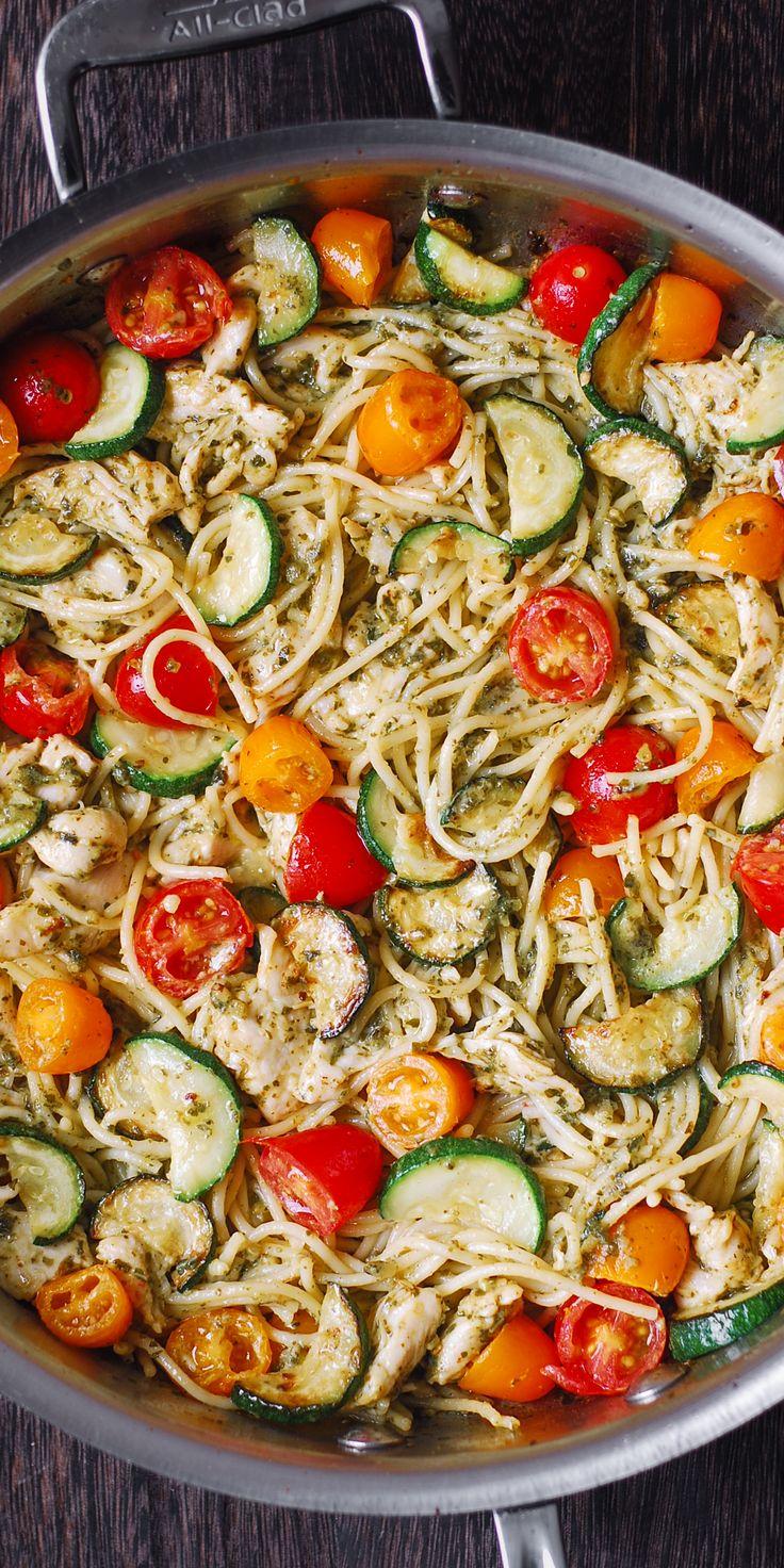 Parmesan Zucchini Tomato Chicken Spaghetti Toss with Basil Pesto.