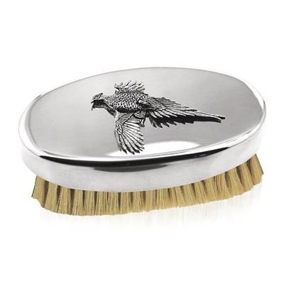 A smart pewter military brush with pure boar hair bristles.