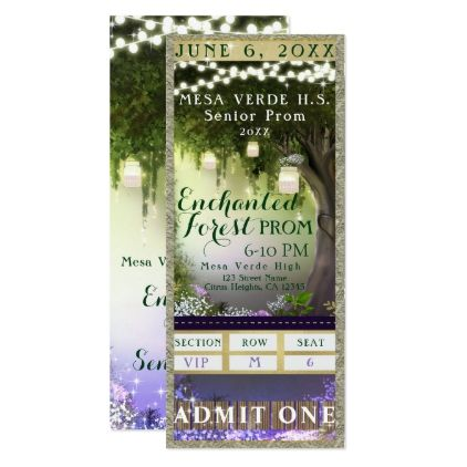 Enchanted Forest Prom VIP Party Ticket Card - birthday invitations diy customize personalize card party gift