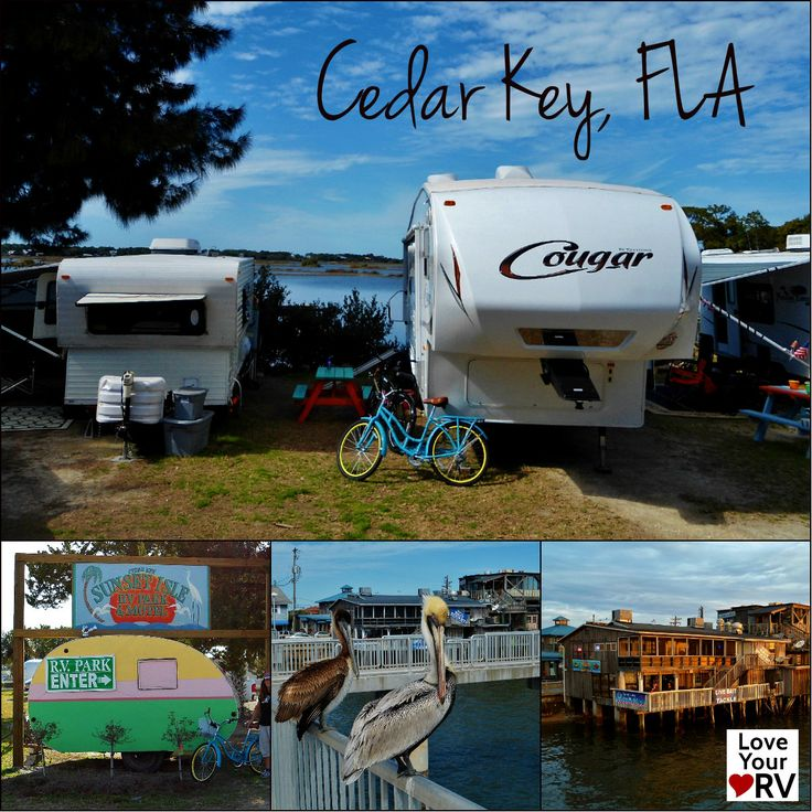 Cedar Key, FLA is locate on the Gulf Coast north of Tampa. It's a cool funky town with a few nice RV parks and a retro, laid back feel. http://www.loveyourrv.com/our-last-gasp-of-florida/ #RV #RVing #Places