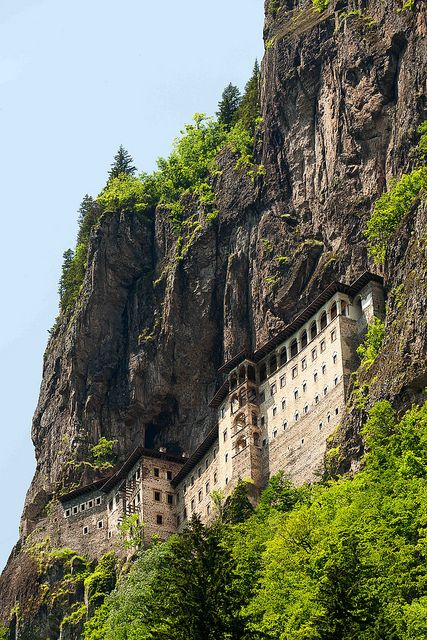 Sumela Monastery, Trabzon, Turkey. When I visited, the place was wrapped in mist and a light drizzle. Quite magical