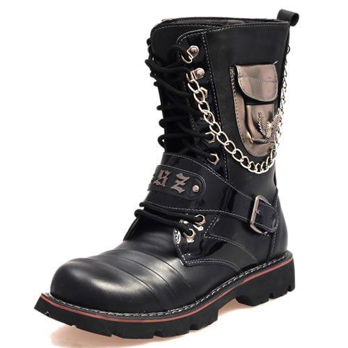 Black Leather Cyber Gothic Punk Fashion Strap Chain Battle Boots Men SKU-1280554