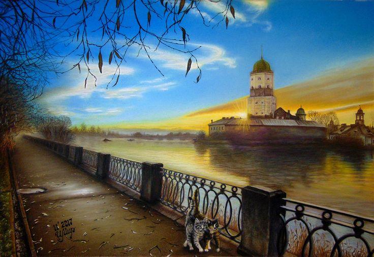I love my native city! My art. Pastel painting, Pastelmat,  35x50cm